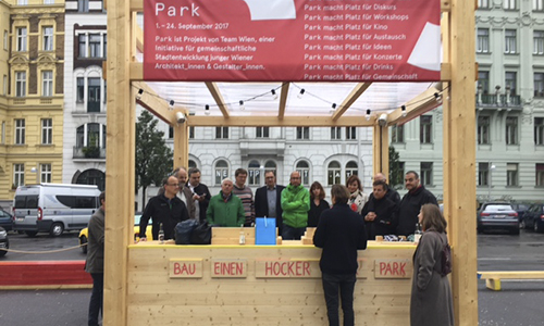 "VEH Gruppe beim Projekt ""PARK macht Platz"" in Wien."