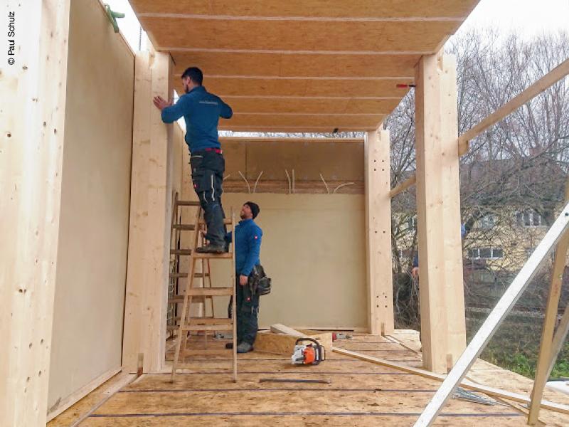 Montage. Holzträger von Hasslacher Norica Timber. © Paul Schulz